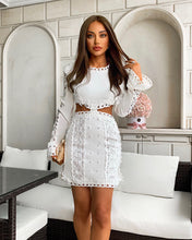 Load image into Gallery viewer, Lace Cut Out Mini Embroidered Dress - BEYAZURA.COM