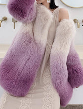 Load image into Gallery viewer, Genuine Fox Fur Ombre Dyed Coat - Beyazura.com