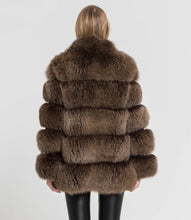 Load image into Gallery viewer, Five Panel Striped Fox Fur Coat - BEYAZURA.COM