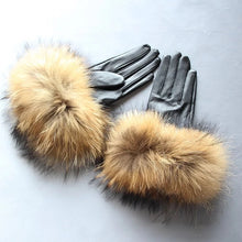 Load image into Gallery viewer, Raccoon Fur Sheepskin Leather Gloves - BEYAZURA.COM