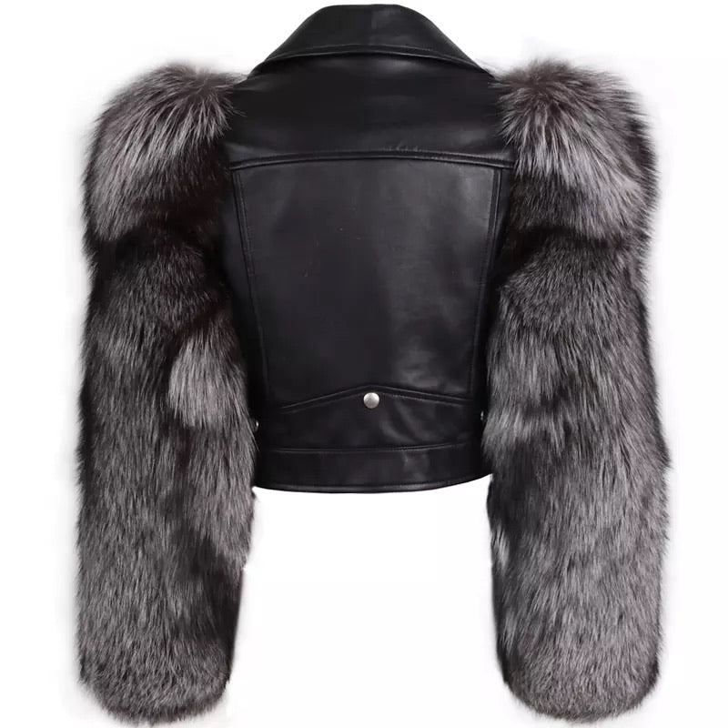 Leather Biker Jacket With Fluffy Fur Sleeves - BEYAZURA.COM