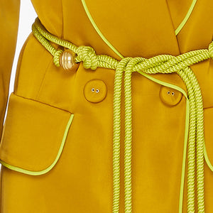 Satin Robe Jacket And Wide Leg Trouser Two Piece Set in Yellow - BEYAZURA.COM