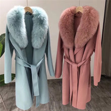 Load image into Gallery viewer, Long Wool Coat With Fox Fur Collar - BEYAZURA.COM
