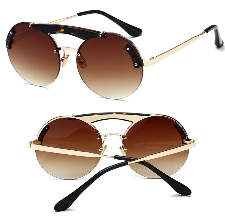 ROUND SUNGLASSES WITH LEOPARD FRAME AND GRADIENT BROWN LENSES - BEYAZURA.COM