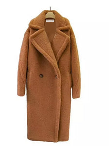 Long Loose Fit Shearling Fur Teddy Coat - BEYAZURA.COM