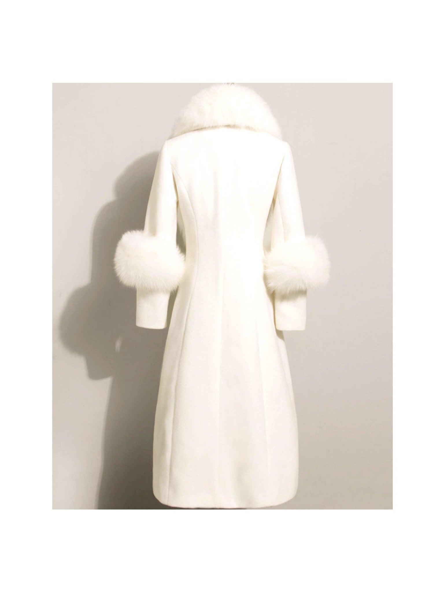 LONG WOOL COAT WITH FOX FUR TRIMS