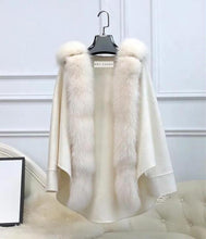Load image into Gallery viewer, Oversized Australian Wool Fox Fur Trim Poncho - BEYAZURA.COM