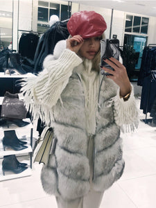 Long Fox Fur Vest With Hoodie - BEYAZURA.COM
