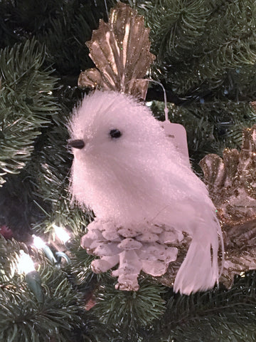 white bird, bird ornaments, pine cone birds