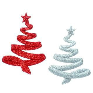 RAZ Imports - Silver and Red Glittering Tree Ornaments 5""