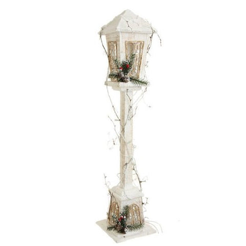 RAZ Imports - White Wood Lighted Lamp Post 30""