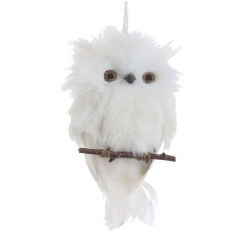 Flat White Feather Owl on Branch Christmas Ornament, 6 Inches Long