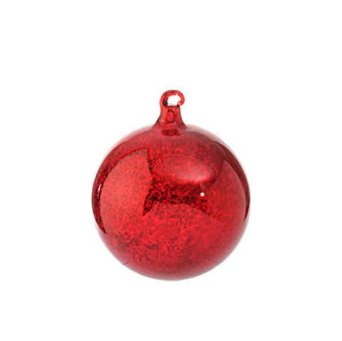 "RAZ Imports - 4"" Antiqued Red Ball Ornament"