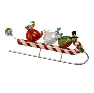 RAZ Imports - Birds On Candy Cane Christmas Tree Ornament 5""
