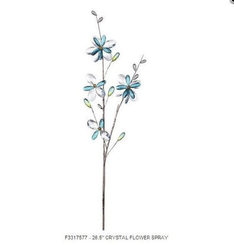 "RAZ Imports - 26.5"" Blue Crystal Flower Spray"