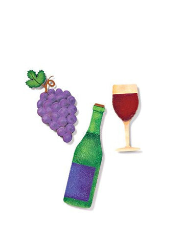 "DEMDACO EMBELLISH YOUR STORY WINE METAL MAGNETS WINE BOTTLE IS 5"" HIGH GRAPES ARE APPROXIMATELY 4"" AND THE WINE GLASS IS 3-1/2"" HIGH"