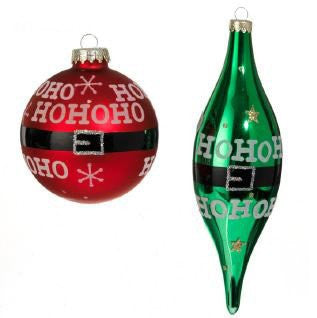 "RAZ Imports - Red and Green Glass ""HO HO HO"" Ornaments"