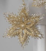 Glittered Starburst Ornaments (Gold)