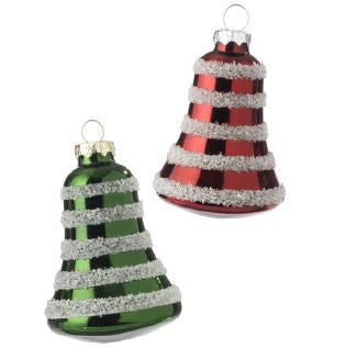 "RAZ Imports - Red and Green Flocked Glass Bells 3"" Christmas Tree Ornaments - Set of 2"