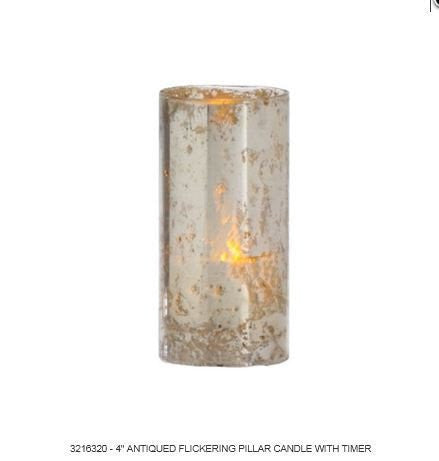 RAZ Imports - Antiqued Silver Flickering Pillar Candle with Timer