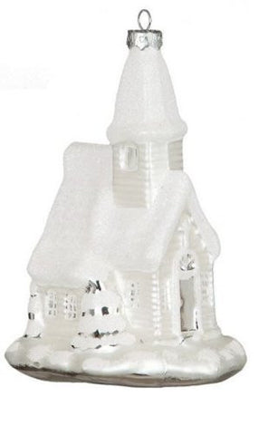 Sullivans - Glittered White and Silver Glass Church Ornament 5.5""