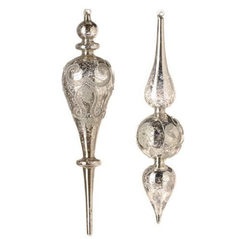 RAZ Imports - Silver Glass Finial Ornaments 15.5""