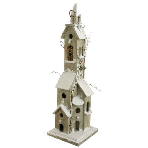 RAZ Imports - Brown and White Wooden Lighted Bird House 30""
