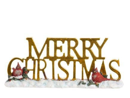 RAZ Imports - Antiqued Gold Merry Christmas Sign with Red Cardinals