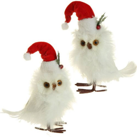 RAZ Imports Standing Feathered Owl with Santa Hats Figurines, Set of 2