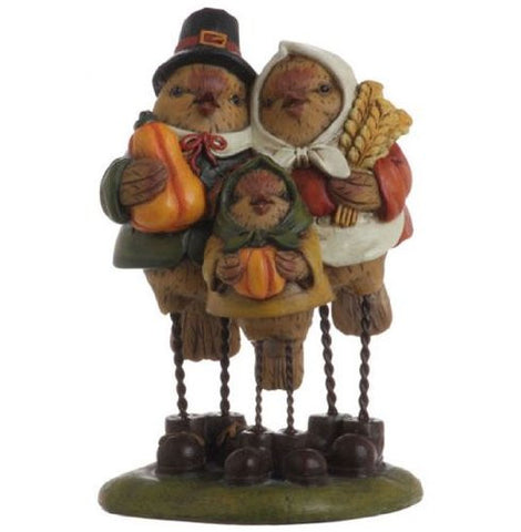 RAZ Imports - Thanksgiving Decoration - Pilgrim Bird Family Table Top Decorative Piece