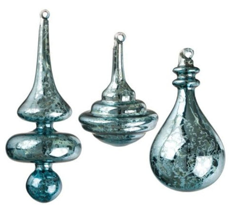 Sullivans - Antiqued Teal Blue Glass Finial Ornaments