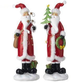 RAZ Imports - Festive Red and White Santa Claus Figurines 14""