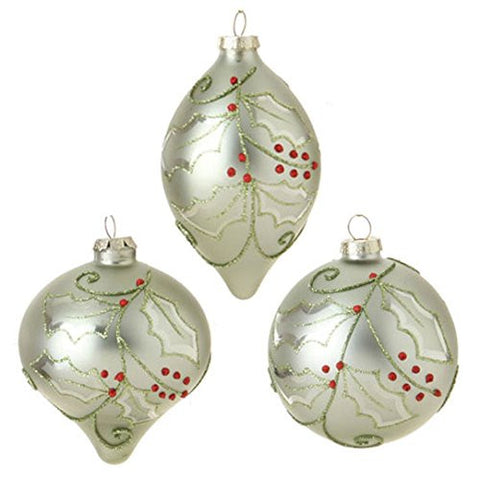 Glittered Holly Ornament Set of 3