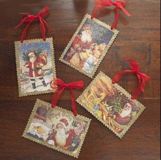 RAZ Imports - Antiqued / Old World Glittered Santa Claus Postcard Christmas Tree Ornaments - Set of 4