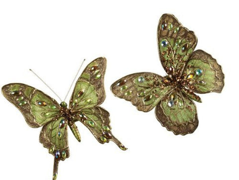 Sullivans Beaded Green Butterfly Clip On Ornaments