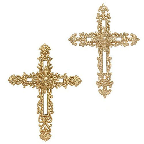 "Decorative Mirrored Gold Cross 6"" Christmas Ornaments - Set of 2"