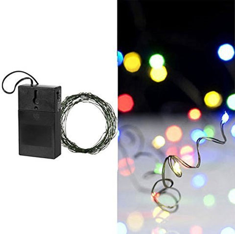 "240"" 20' Multicolored LED Battery Operated Strand Fairy Christmas Lights Green Wire Indoor"