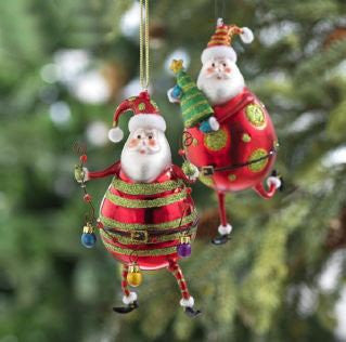 RAZ Imports - Red & Green Santa Claus Glass Ornaments 5.5""