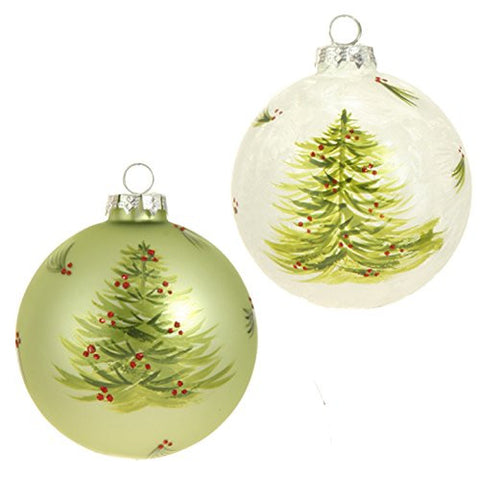 "RAZ Imports - Sageberry Theme - 4"" Glittered & Frosted Decorated Christmas Tree & Berry Ball Ornaments - Set of 2"