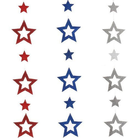 RAZ Imports - Glittered Red, Silver and Blue Star Patriotic Garlands 5' - Set of 3