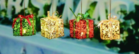 Mini Metal Led Light Up Holiday Gift Box Ornaments - Set/4