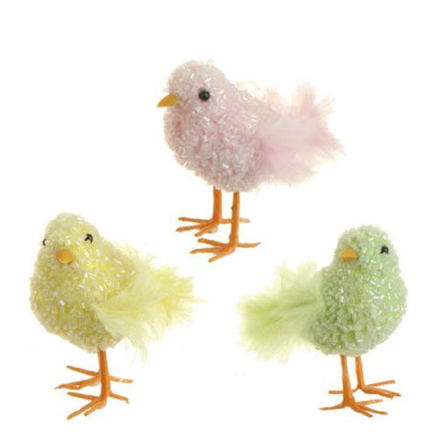 RAZ Imports - Set of 3 - Beaded and Feathered Multicolored Spring / Easter Chicks
