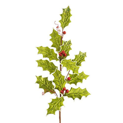 "RAZ Imports - Christmas/Winter Floral - 31"" Sparkly Green Holly with Red Berries Spray"