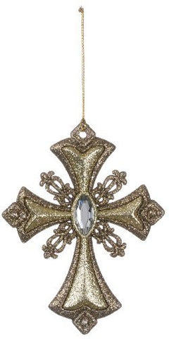 Sullivans - Glittering Jeweled Gold Cross Ornament 5""