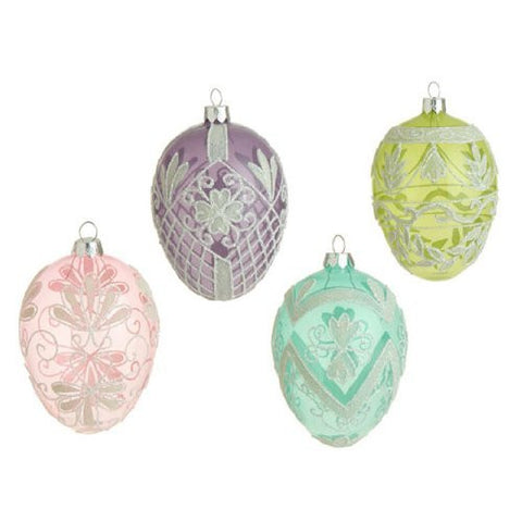 "RAZ Imports - 4 ASST 5"" BEADED EGG ORNAMENTS"