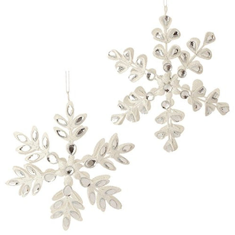 "RAZ Imports - 6"" Glittered Snowflake Christmas Ornaments - Set of 2"