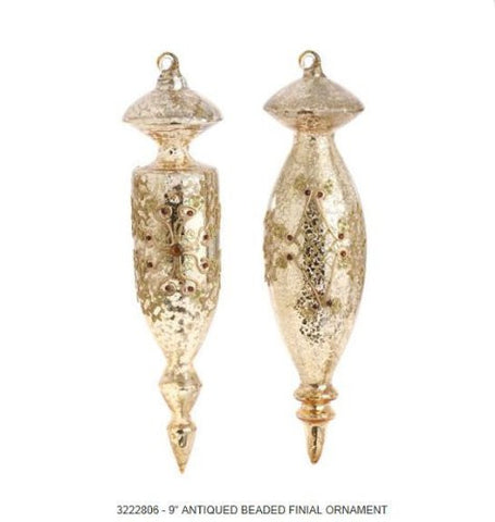 RAZ Imports - Antiqued Beaded Gold Glass Finial Ornaments