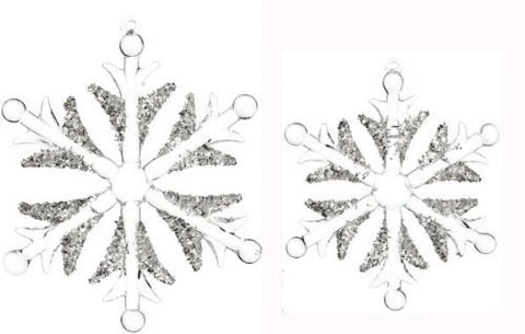 Sullivans - Clear Crystal Beaded Snowflakes - Set of 2