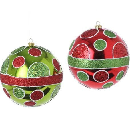 "RAZ Imports - 5"" Dot Ball Ornaments - Set of 2"
