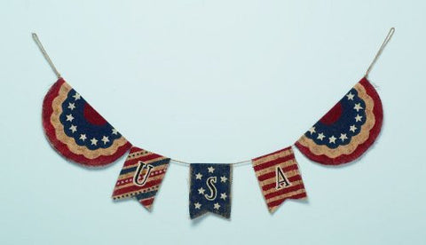 Burlap USA Patriotic Banner - Fourth of July Holiday Decoration